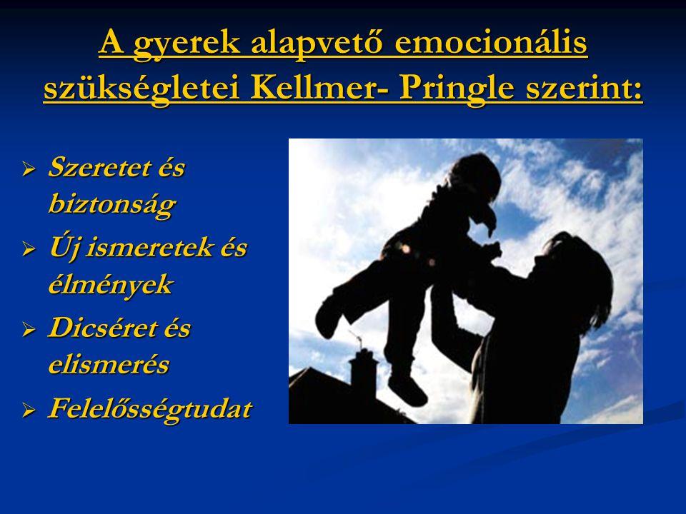 A gyerek alapvető emocionális szükségletei Kellmer- Pringle szerint:  Szeretet és biztonság  Új ismeretek és élmények  Dicséret és elismerés  Fele