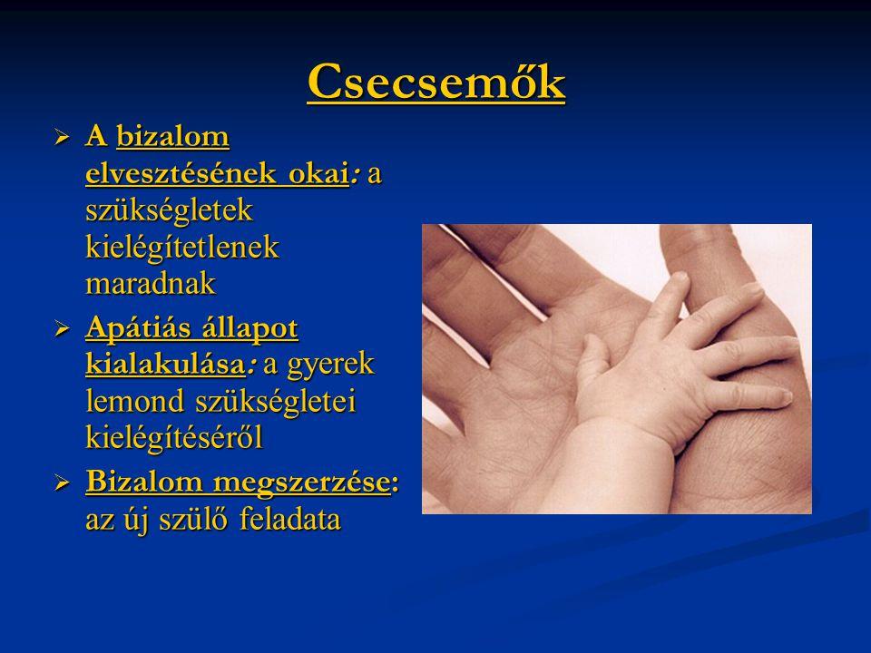 Csecsemők  A bizalom elvesztésének okai: a szükségletek kielégítetlenek maradnak  Apátiás állapot kialakulása: a gyerek lemond szükségletei kielégít