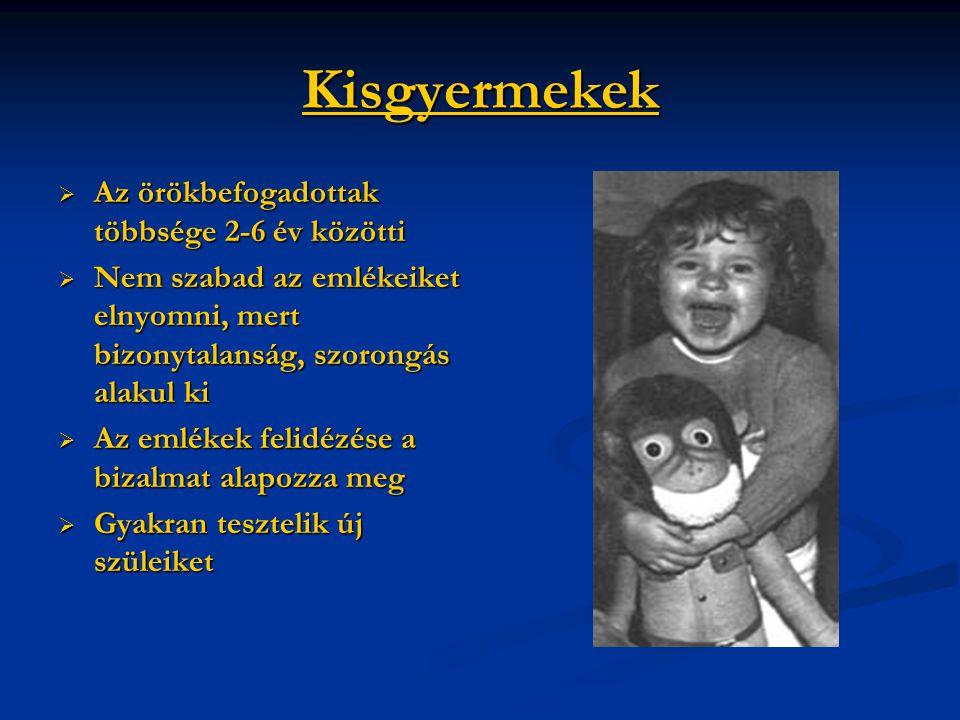 Kisgyermekek  Az örökbefogadottak többsége 2-6 év közötti  Nem szabad az emlékeiket elnyomni, mert bizonytalanság, szorongás alakul ki  Az emlékek
