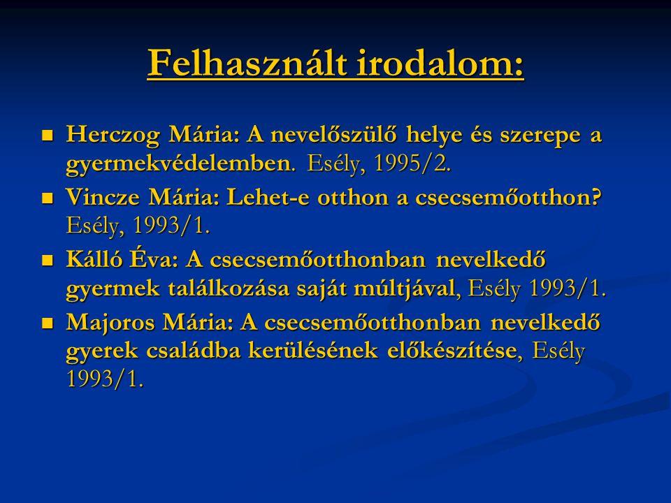 Felhasznált irodalom: Herczog Mária: A nevelőszülő helye és szerepe a gyermekvédelemben. Esély, 1995/2. Herczog Mária: A nevelőszülő helye és szerepe