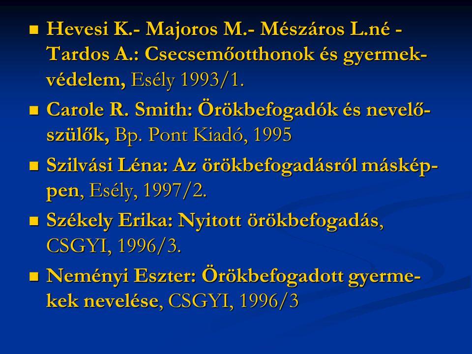 Hevesi K.- Majoros M.- Mészáros L.né - Tardos A.: Csecsemőotthonok és gyermek- védelem, Esély 1993/1. Hevesi K.- Majoros M.- Mészáros L.né - Tardos A.