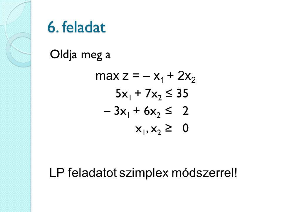 6. feladat max z = – x 1 + 2x 2 Oldja meg a LP feladatot szimplex módszerrel! 5x 1 + 7x 2 ≤ 35 – 3x 1 + 6x 2 ≤ 2 x 1, x 2 ≥ 0