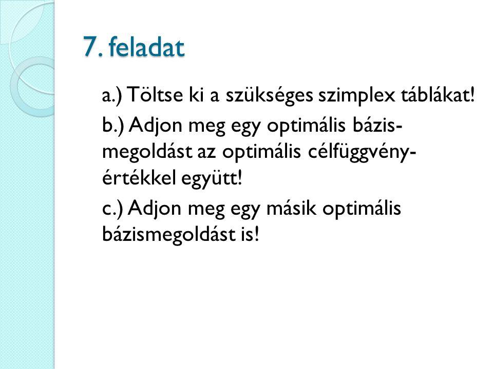 7. feladat a.) Töltse ki a szükséges szimplex táblákat! b.) Adjon meg egy optimális bázis- megoldást az optimális célfüggvény- értékkel együtt! c.) Ad