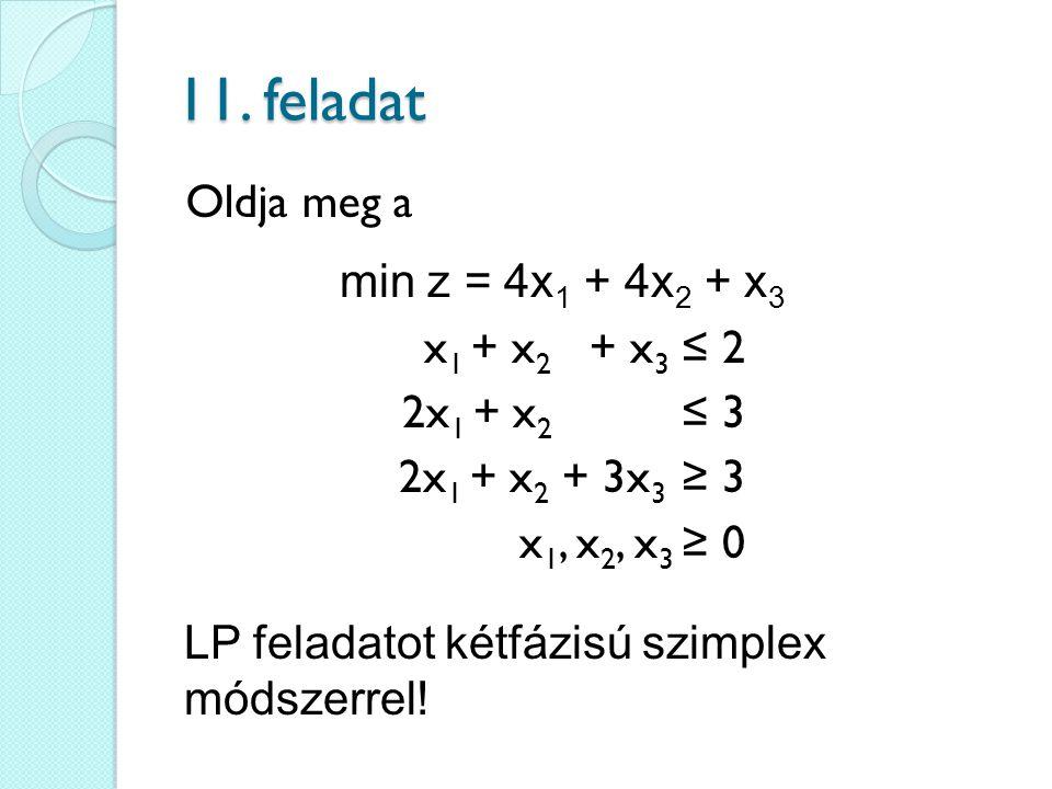 11. feladat x 1 + x 2 + x 3 ≤ 2 2x 1 + x 2 ≤ 3 2x 1 + x 2 + 3x 3 ≥ 3 x 1, x 2, x 3 ≥ 0 min z = 4x 1 + 4x 2 + x 3 Oldja meg a LP feladatot kétfázisú sz