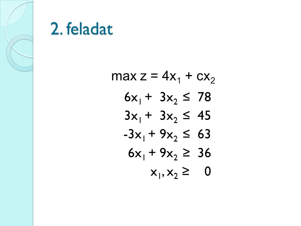 2. feladat 6x 1 + 3x 2 ≤ 78 3x 1 + 3x 2 ≤ 45 -3x 1 + 9x 2 ≤ 63 6x 1 + 9x 2 ≥ 36 x 1, x 2 ≥ 0 max z = 4x 1 + cx 2