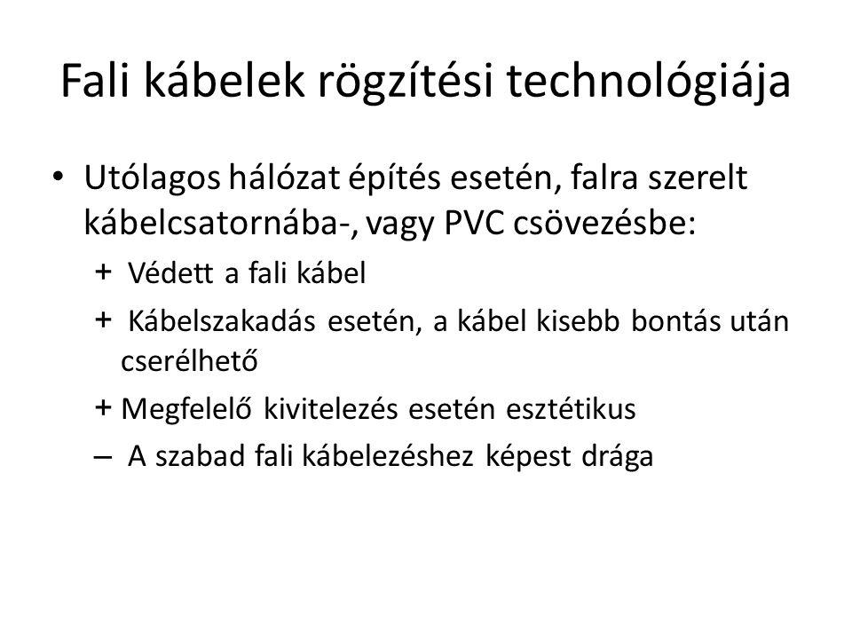 Fali kábelek rögzítési technológiája Utólagos hálózat építés esetén, falra szerelt kábelcsatornába-, vagy PVC csövezésbe: + Védett a fali kábel + Kábelszakadás esetén, a kábel kisebb bontás után cserélhető + Megfelelő kivitelezés esetén esztétikus – A szabad fali kábelezéshez képest drága