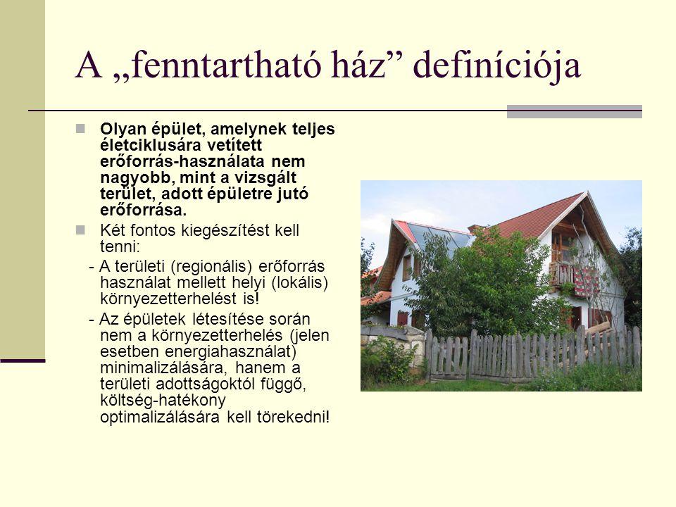 """A """"fenntartható ház"""" definíciója Olyan épület, amelynek teljes életciklusára vetített erőforrás-használata nem nagyobb, mint a vizsgált terület, adott"""