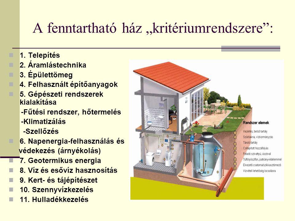 """A fenntartható ház """"kritériumrendszere"""": 1. Telepítés 2. Áramlástechnika 3. Épülettömeg 4. Felhasznált építőanyagok 5. Gépészeti rendszerek kialakítás"""