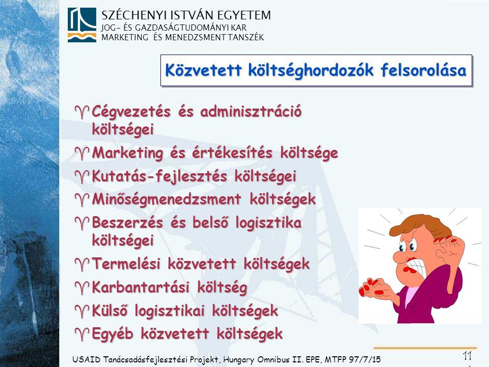 SZÉCHENYI ISTVÁN EGYETEM JOG- ÉS GAZDASÁGTUDOMÁNYI KAR MARKETING ÉS MENEDZSMENT TANSZÉK 11 7 Közvetett költségviselő piaci funkciók USAID Tanácsadásfejlesztési Projekt, Hungary Omnibus II.