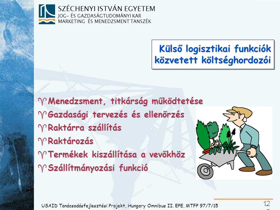 SZÉCHENYI ISTVÁN EGYETEM JOG- ÉS GAZDASÁGTUDOMÁNYI KAR MARKETING ÉS MENEDZSMENT TANSZÉK 12 1 USAID Tanácsadásfejlesztési Projekt, Hungary Omnibus II.