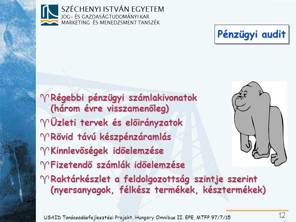 SZÉCHENYI ISTVÁN EGYETEM JOG- ÉS GAZDASÁGTUDOMÁNYI KAR MARKETING ÉS MENEDZSMENT TANSZÉK 12 6 USAID Tanácsadásfejlesztési Projekt, Hungary Omnibus II.