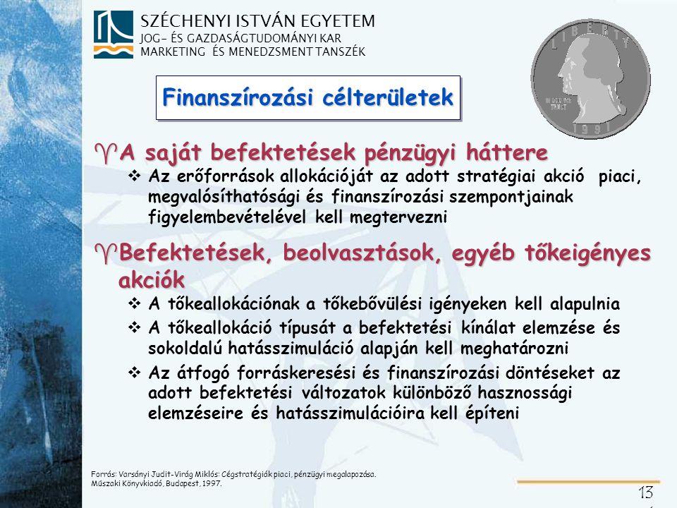 SZÉCHENYI ISTVÁN EGYETEM JOG- ÉS GAZDASÁGTUDOMÁNYI KAR MARKETING ÉS MENEDZSMENT TANSZÉK 13 2 Innovációk finanszírozása ^Akciófinanszírozás, projektfinanszírozás vAkciófüggő finanszírozási ismérvek vForrásfüggő finanszírozási ismérvek ^Fundraising és forráshasznosítás vFundraising = forrásszerzés vPályázati rendszer, vegyes célú források vVáltozó feltételrendszer = döntésmotiváló tényezők (hozzáférhetőség, előnyök, terhek, kockázatok) vPályázókészség nagy szerepe vA pályázatírási készség fejlesztése Varsányi Judit - Menedzsment óravázlatok.