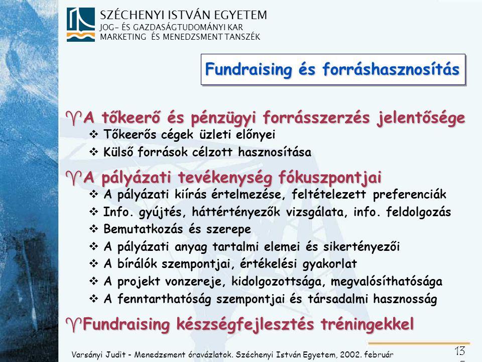 SZÉCHENYI ISTVÁN EGYETEM JOG- ÉS GAZDASÁGTUDOMÁNYI KAR MARKETING ÉS MENEDZSMENT TANSZÉK 13 5 Fundraising és forráshasznosítás ^A tőkeerő és pénzügyi f