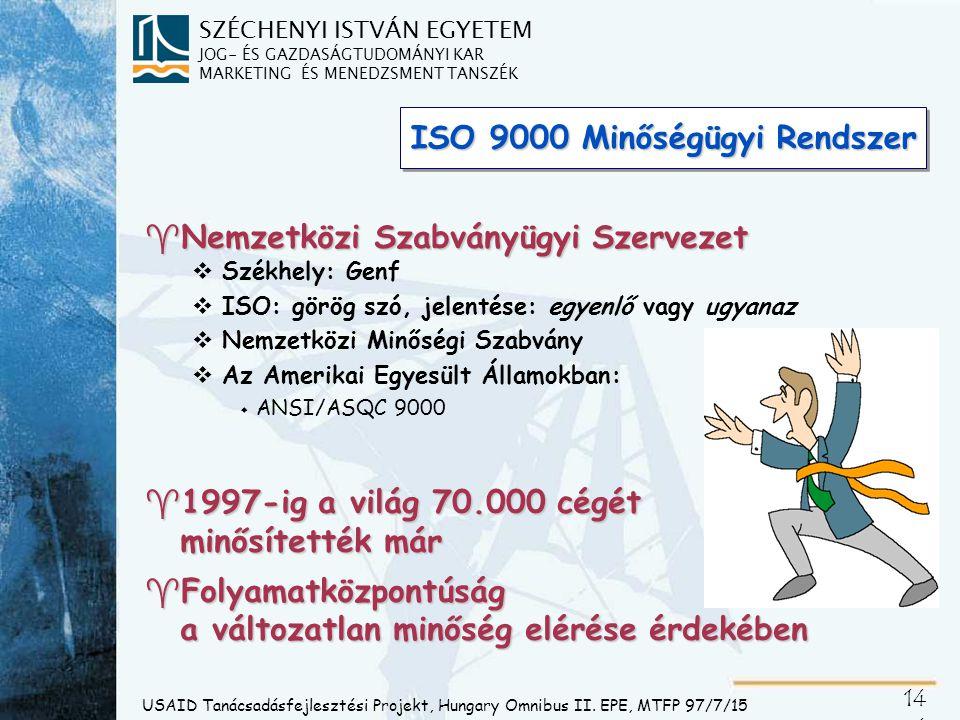 SZÉCHENYI ISTVÁN EGYETEM JOG- ÉS GAZDASÁGTUDOMÁNYI KAR MARKETING ÉS MENEDZSMENT TANSZÉK 14 4 ISO 9000 Minőségügyi Rendszer ^Nemzetközi Szabványügyi Sz