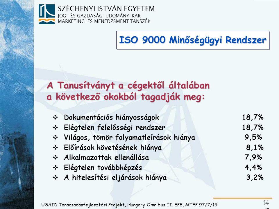 SZÉCHENYI ISTVÁN EGYETEM JOG- ÉS GAZDASÁGTUDOMÁNYI KAR MARKETING ÉS MENEDZSMENT TANSZÉK 14 5 ISO 9000 Minőségügyi Rendszer A Tanusítványt a cégektől á