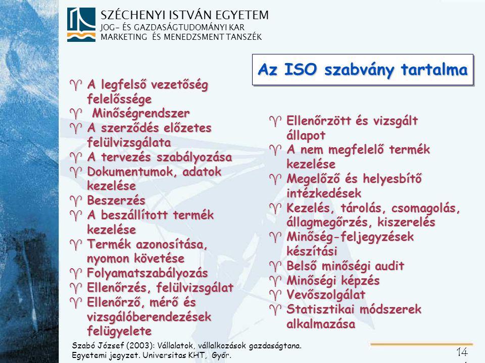 SZÉCHENYI ISTVÁN EGYETEM JOG- ÉS GAZDASÁGTUDOMÁNYI KAR MARKETING ÉS MENEDZSMENT TANSZÉK 14 6 Az ISO szabvány tartalma ^A legfelső vezetőség felelősség