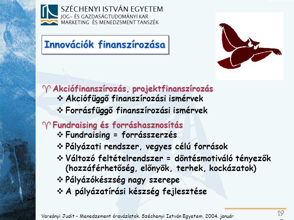 SZÉCHENYI ISTVÁN EGYETEM JOG- ÉS GAZDASÁGTUDOMÁNYI KAR MARKETING ÉS MENEDZSMENT TANSZÉK 19 0 Innovációk finanszírozása ^Akciófinanszírozás, projektfin