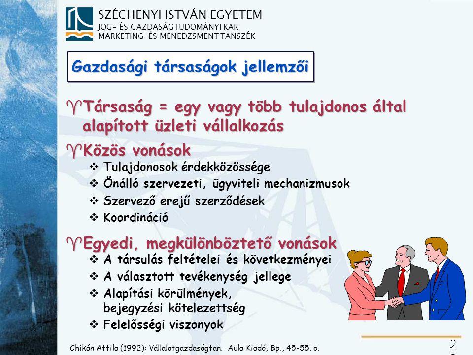 SZÉCHENYI ISTVÁN EGYETEM JOG- ÉS GAZDASÁGTUDOMÁNYI KAR MARKETING ÉS MENEDZSMENT TANSZÉK 21 Kozma Ferenc (1992): A menedzser közgazdasági szemlélete.