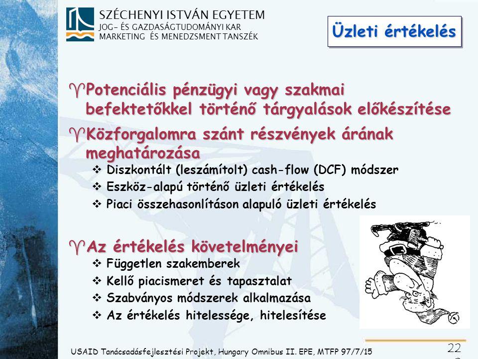 SZÉCHENYI ISTVÁN EGYETEM JOG- ÉS GAZDASÁGTUDOMÁNYI KAR MARKETING ÉS MENEDZSMENT TANSZÉK 22 2 USAID Tanácsadásfejlesztési Projekt, Hungary Omnibus II.