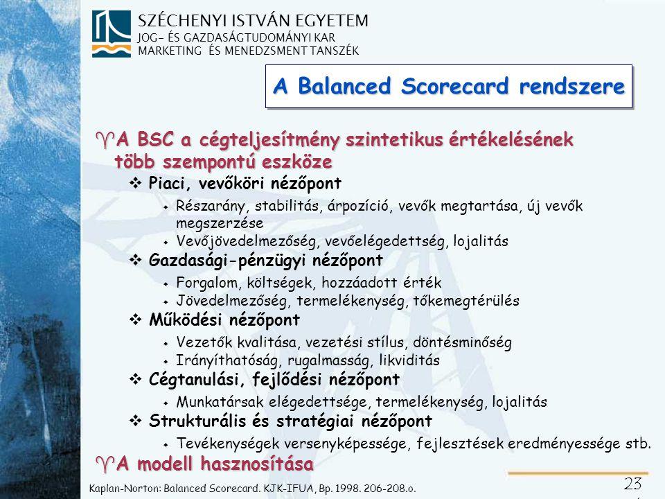 SZÉCHENYI ISTVÁN EGYETEM JOG- ÉS GAZDASÁGTUDOMÁNYI KAR MARKETING ÉS MENEDZSMENT TANSZÉK 23 5 Kaplan-Norton: Balanced Scorecard.