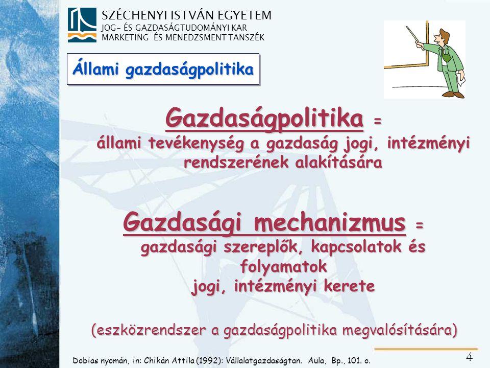 SZÉCHENYI ISTVÁN EGYETEM JOG- ÉS GAZDASÁGTUDOMÁNYI KAR MARKETING ÉS MENEDZSMENT TANSZÉK 5 Samuelson nyomán (1987), in: Chikán Attila (1992): Vállalatgazdaságtan.