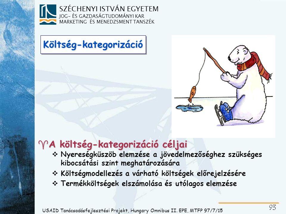 SZÉCHENYI ISTVÁN EGYETEM JOG- ÉS GAZDASÁGTUDOMÁNYI KAR MARKETING ÉS MENEDZSMENT TANSZÉK 94 IGEN egyenes arányban VÁLTOZÓ KÖLTSÉG FIX KÖLTSÉG NEM IGEN de nem egyenes arányban KVÁZI-FIX KÖLTSÉG USAID Tanácsadásfejlesztési Projekt, Hungary Omnibus II.