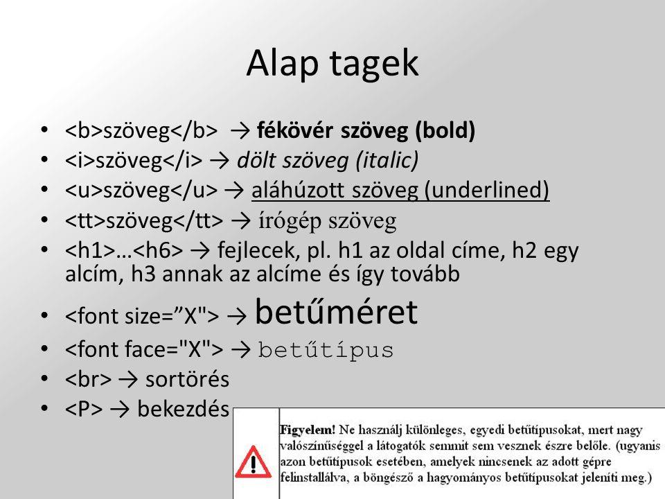 Alap tagek szöveg → fékövér szöveg (bold) szöveg → dölt szöveg (italic) szöveg → aláhúzott szöveg (underlined) szöveg → írógép szöveg … → fejlecek, pl