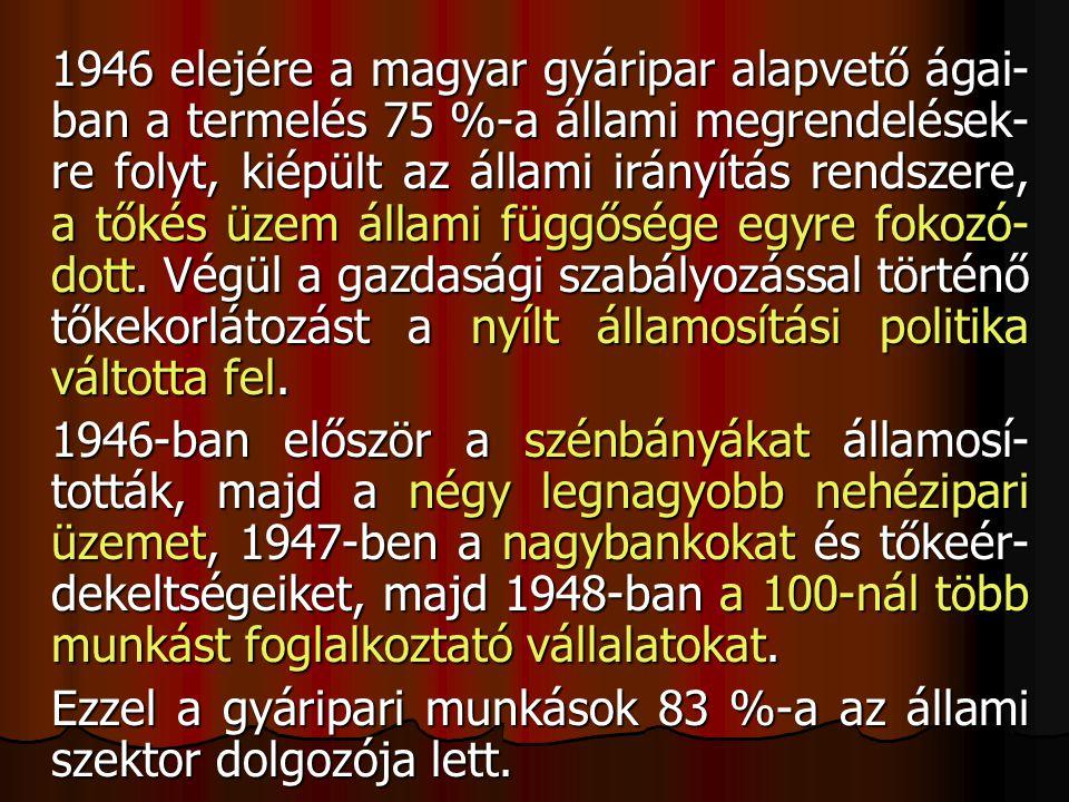 1946 elejére a magyar gyáripar alapvető ágai- ban a termelés 75 %-a állami megrendelések- re folyt, kiépült az állami irányítás rendszere, a tőkés üzem állami függősége egyre fokozó- dott.
