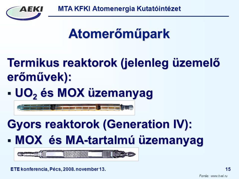 MTA KFKI Atomenergia Kutatóintézet ETE konferencia, Pécs, 2008. november 13.15 Atomerőműpark Termikus reaktorok (jelenleg üzemelő erőművek):  UO 2 és