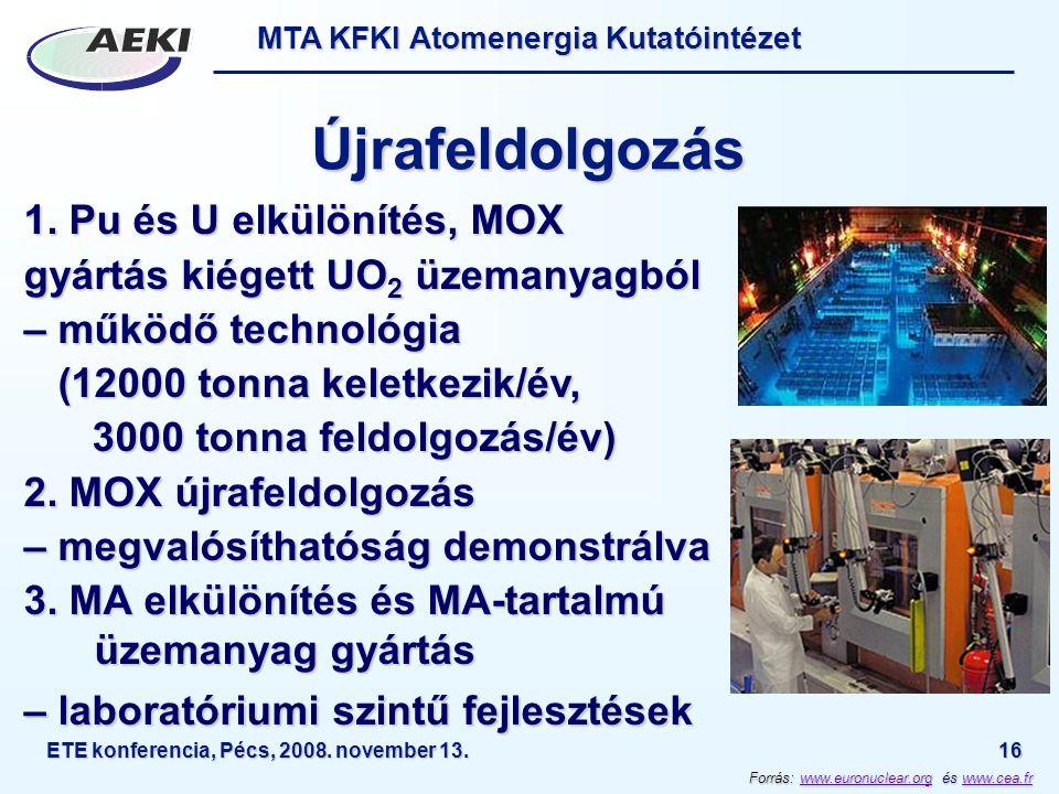 MTA KFKI Atomenergia Kutatóintézet ETE konferencia, Pécs, 2008. november 13.16 Újrafeldolgozás 1. Pu és U elkülönítés, MOX gyártás kiégett UO 2 üzeman