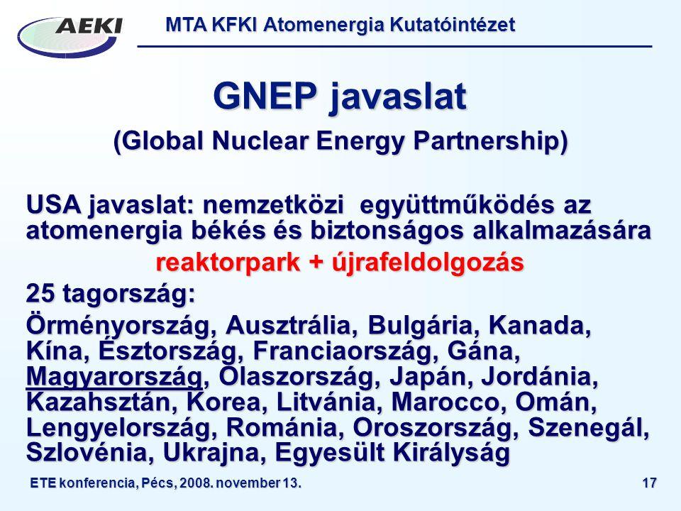 MTA KFKI Atomenergia Kutatóintézet ETE konferencia, Pécs, 2008. november 13.17 GNEP javaslat (Global Nuclear Energy Partnership) USA javaslat: nemzetk
