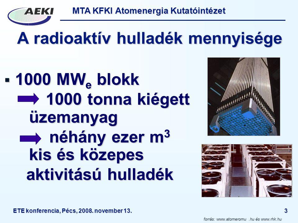 MTA KFKI Atomenergia Kutatóintézet ETE konferencia, Pécs, 2008. november 13.3 A radioaktív hulladék mennyisége  1000 MW e blokk 1000 tonna kiégett üz
