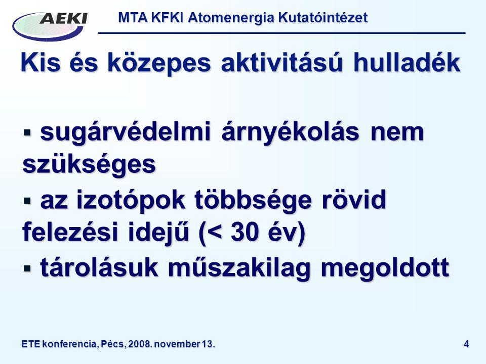 MTA KFKI Atomenergia Kutatóintézet ETE konferencia, Pécs, 2008. november 13.4 Kis és közepes aktivitású hulladék  sugárvédelmi árnyékolás nem szükség
