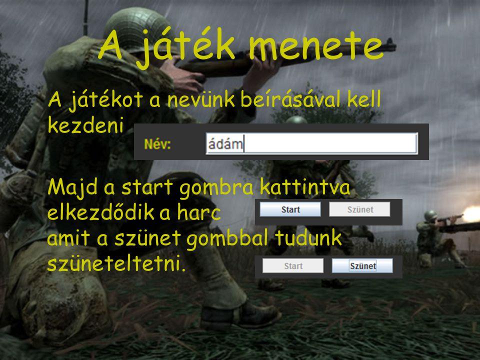 A játék menete A csatatéren megjelenő katonákat kell lelőni az egérgombok segítségével.