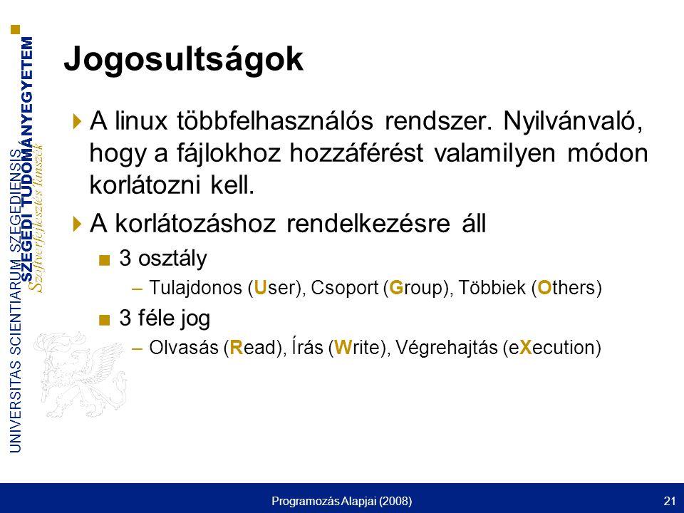 SZEGEDI TUDOMÁNYEGYETEM S zoftverfejlesztés Tanszék UNIVERSITAS SCIENTIARUM SZEGEDIENSIS Programozás Alapjai (2008)21 Jogosultságok  A linux többfelhasználós rendszer.
