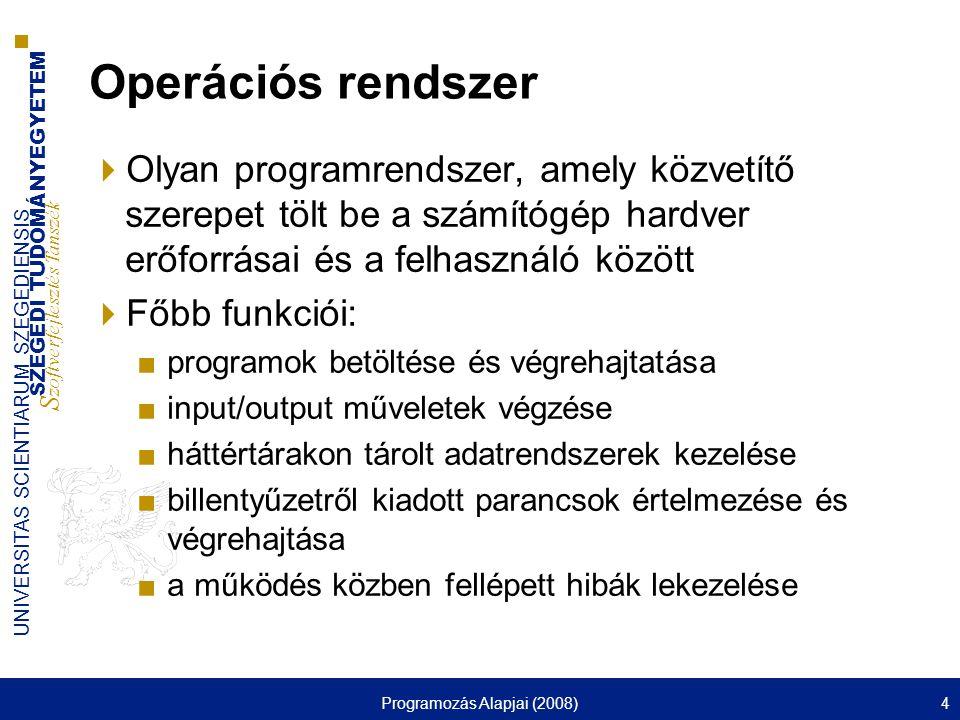 SZEGEDI TUDOMÁNYEGYETEM S zoftverfejlesztés Tanszék UNIVERSITAS SCIENTIARUM SZEGEDIENSIS Programozás Alapjai (2008)25 Jogosultságok megváltoztatása  chmod ■ – » :a (All), u (User), g (Group), o (Other) » :+ (megadás), - (megvonás), = (beállítás) » :r (Read), w (Write), x (eXecute) – »mindegyik egy oktális számjegy »4 (read), 2 (write), 1 (execute) ■pl: chmod go-w out.txt chmod 640 out.txt