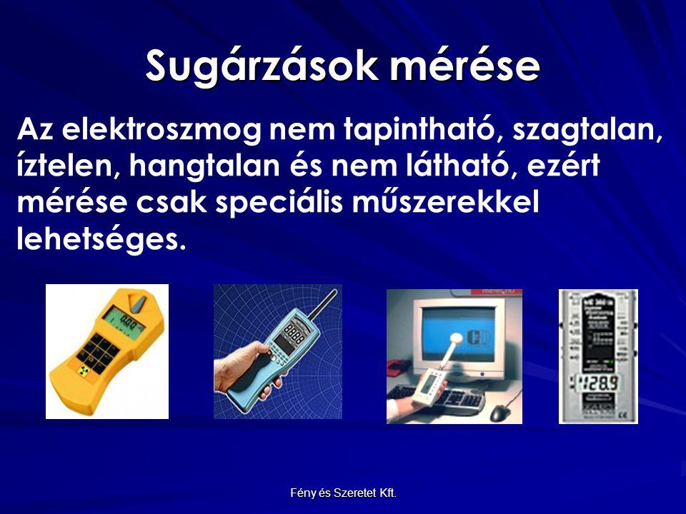 Sugárzások mérése Az elektroszmog nem tapintható, szagtalan, íztelen, hangtalan és nem látható, ezért mérése csak speciális műszerekkel lehetséges. Fé