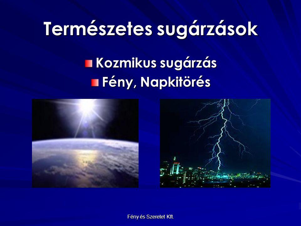 Természetes sugárzások Kozmikus sugárzás Fény, Napkitörés Fény és Szeretet Kft.