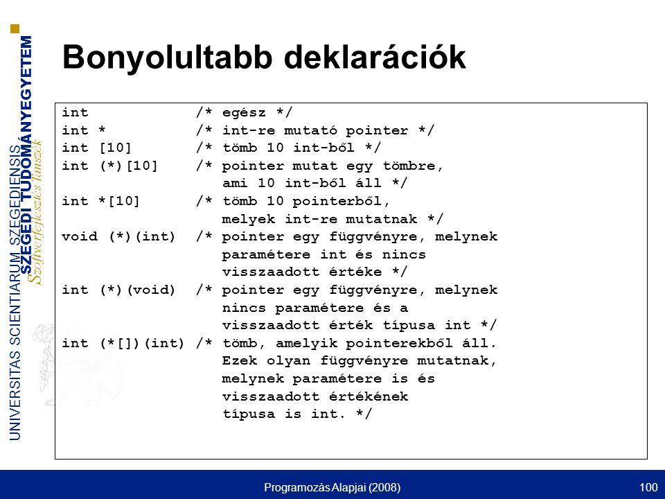 SZEGEDI TUDOMÁNYEGYETEM S zoftverfejlesztés Tanszék UNIVERSITAS SCIENTIARUM SZEGEDIENSIS Programozás Alapjai (2008)100 Bonyolultabb deklarációk int /*