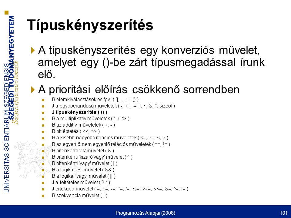 SZEGEDI TUDOMÁNYEGYETEM S zoftverfejlesztés Tanszék UNIVERSITAS SCIENTIARUM SZEGEDIENSIS Programozás Alapjai (2008)101 Típuskényszerítés  A típuskény