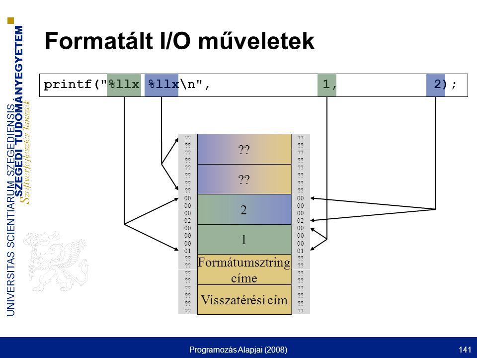 SZEGEDI TUDOMÁNYEGYETEM S zoftverfejlesztés Tanszék UNIVERSITAS SCIENTIARUM SZEGEDIENSIS Programozás Alapjai (2008)141 printf(
