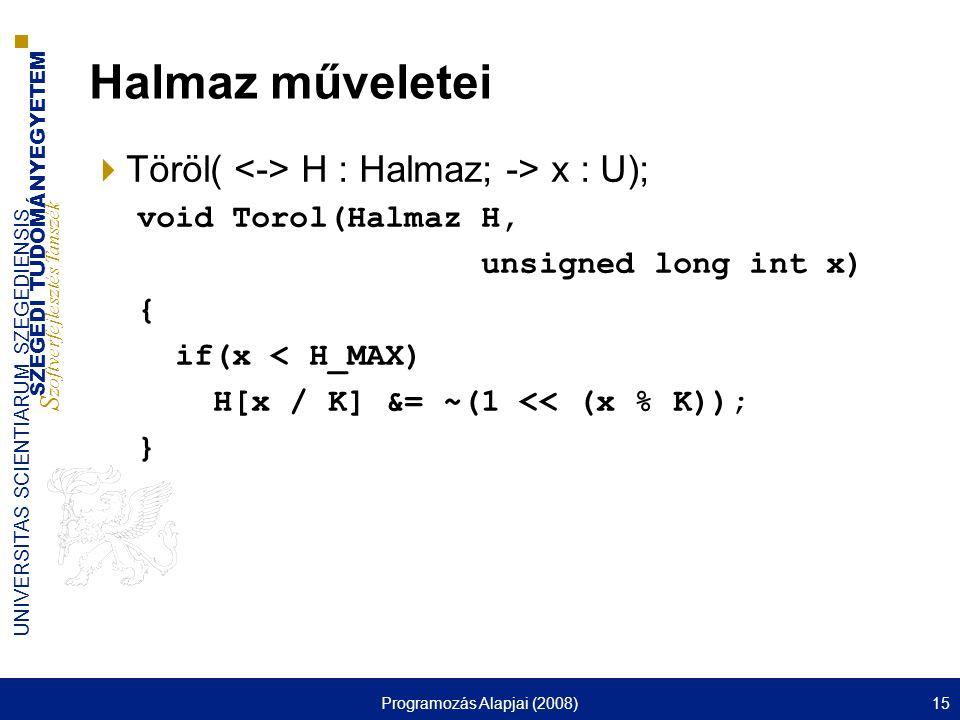 SZEGEDI TUDOMÁNYEGYETEM S zoftverfejlesztés Tanszék UNIVERSITAS SCIENTIARUM SZEGEDIENSIS Programozás Alapjai (2008)15 Halmaz műveletei  Töröl( H : Ha
