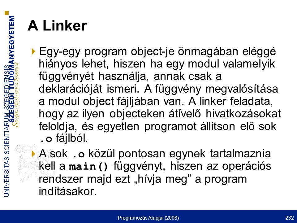 SZEGEDI TUDOMÁNYEGYETEM S zoftverfejlesztés Tanszék UNIVERSITAS SCIENTIARUM SZEGEDIENSIS Programozás Alapjai (2008)232 A Linker  Egy-egy program obje