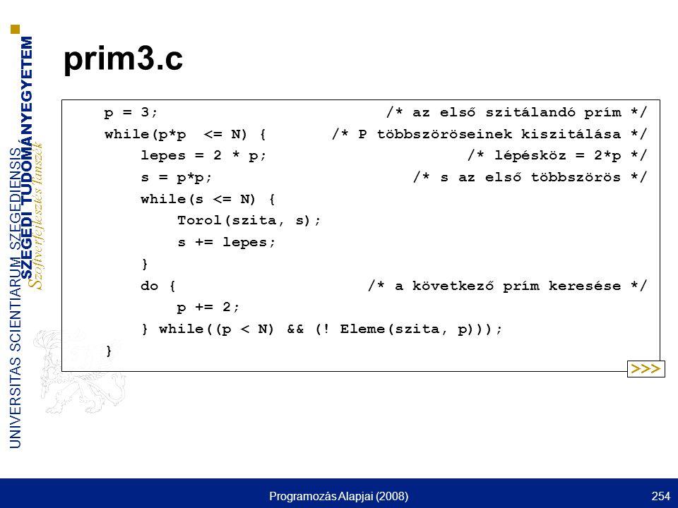 SZEGEDI TUDOMÁNYEGYETEM S zoftverfejlesztés Tanszék UNIVERSITAS SCIENTIARUM SZEGEDIENSIS Programozás Alapjai (2008)254 prim3.c p = 3; /* az első szitá