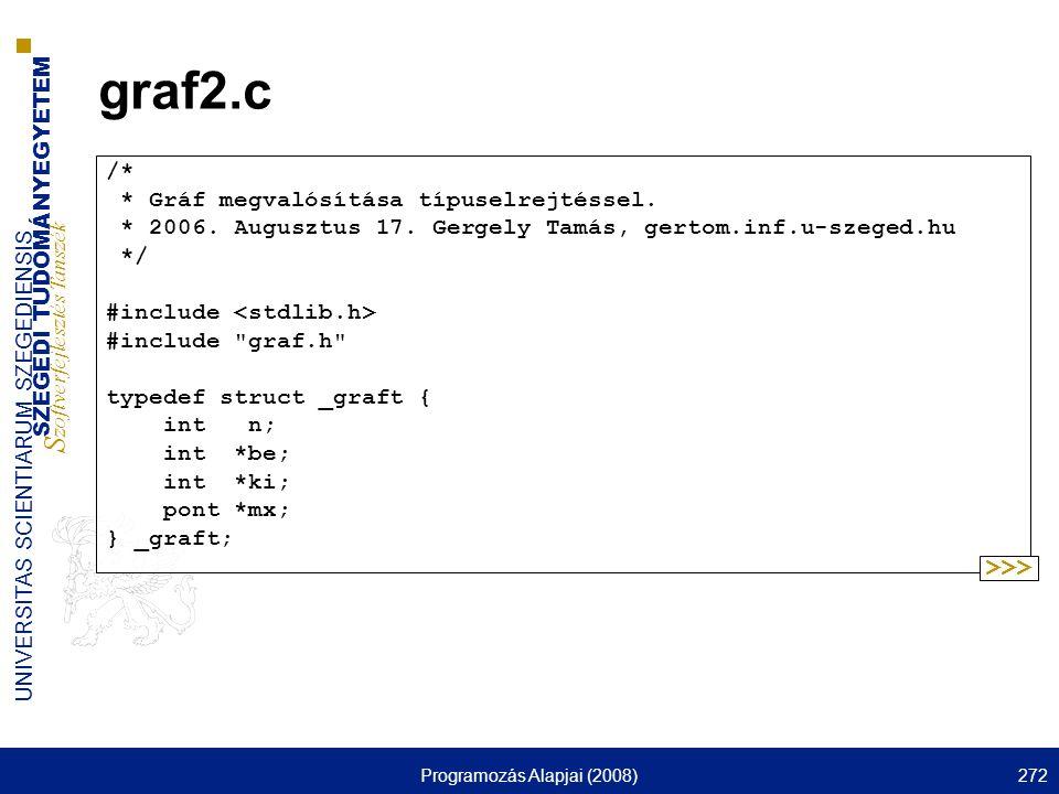 SZEGEDI TUDOMÁNYEGYETEM S zoftverfejlesztés Tanszék UNIVERSITAS SCIENTIARUM SZEGEDIENSIS Programozás Alapjai (2008)272 graf2.c /* * Gráf megvalósítása