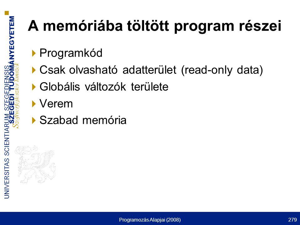 SZEGEDI TUDOMÁNYEGYETEM S zoftverfejlesztés Tanszék UNIVERSITAS SCIENTIARUM SZEGEDIENSIS Programozás Alapjai (2008)279 A memóriába töltött program rés