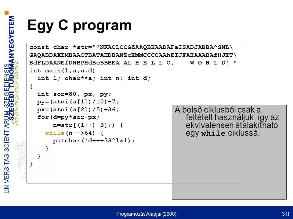 SZEGEDI TUDOMÁNYEGYETEM S zoftverfejlesztés Tanszék UNIVERSITAS SCIENTIARUM SZEGEDIENSIS Programozás Alapjai (2008)311 Egy C program const char *str=