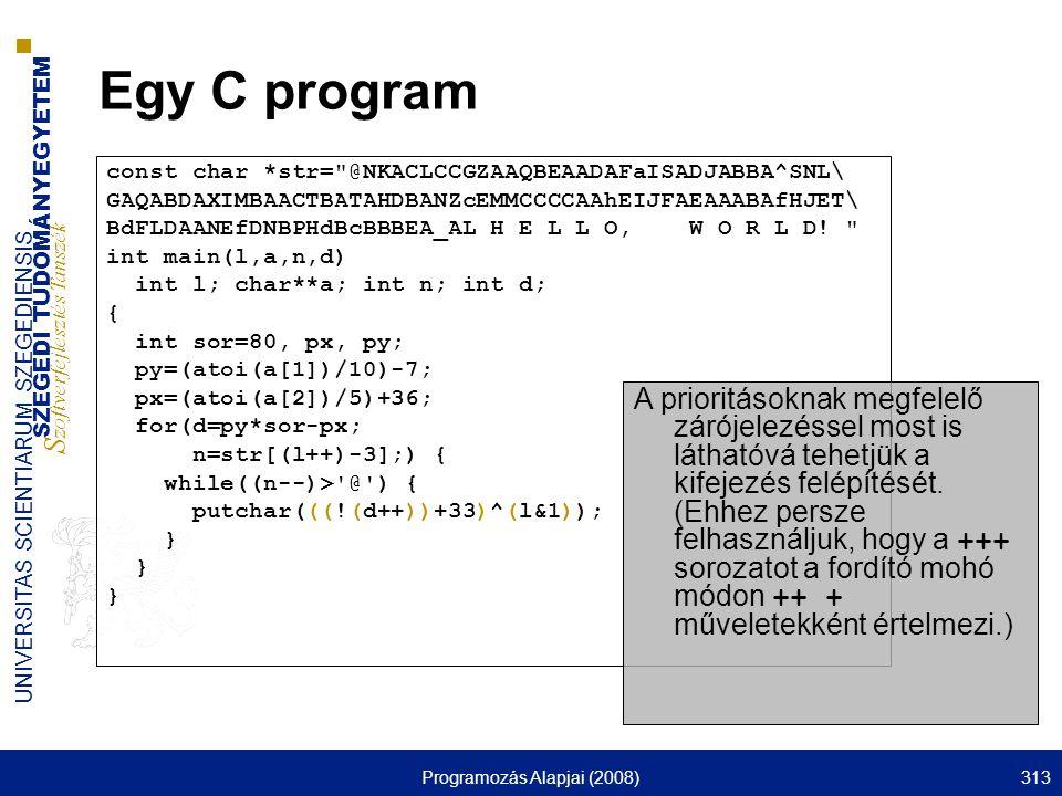 SZEGEDI TUDOMÁNYEGYETEM S zoftverfejlesztés Tanszék UNIVERSITAS SCIENTIARUM SZEGEDIENSIS Programozás Alapjai (2008)313 Egy C program const char *str=