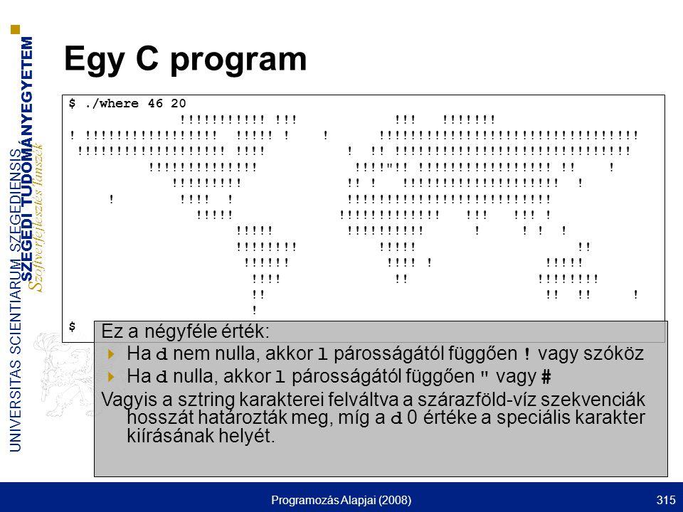 SZEGEDI TUDOMÁNYEGYETEM S zoftverfejlesztés Tanszék UNIVERSITAS SCIENTIARUM SZEGEDIENSIS Programozás Alapjai (2008)315 Egy C program $./where 46 20 !!