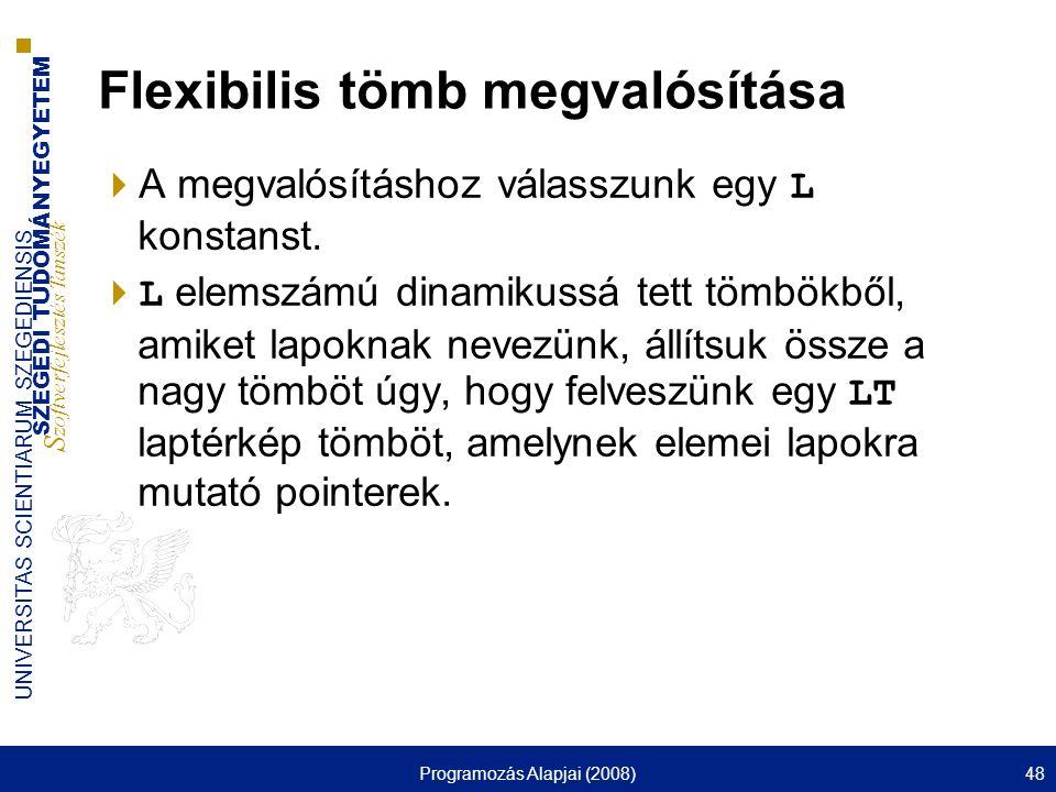 SZEGEDI TUDOMÁNYEGYETEM S zoftverfejlesztés Tanszék UNIVERSITAS SCIENTIARUM SZEGEDIENSIS Programozás Alapjai (2008)48 Flexibilis tömb megvalósítása 